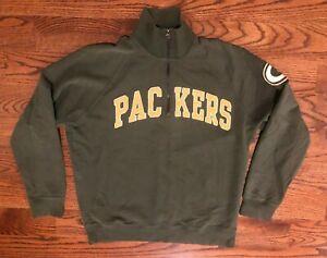 Green Bay Packers NFL 47 Brand Pullover 1/4 Zip Sweatshirt Men's Large EUC