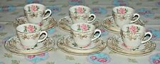 Vintage Alfred Meakin 18 Piece Pink Rose & Gilt Tea set. 6 Trios.