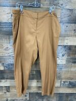 Ann Taylor Loft Women Brown Linen Blend Julie Fit Flat Front Ankle Length Pants