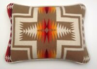 """16""""x20"""" Ivory Leather & Wool Harding Pattern Pillow Made with Pendleton® Fabric"""