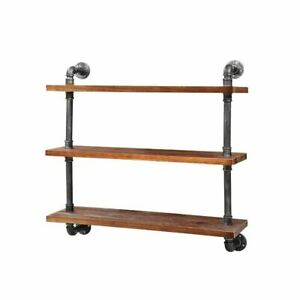 Artiss Display Wall Shelves Industrial DIY Pipe Shelf Brackets Rustic Bookshelf