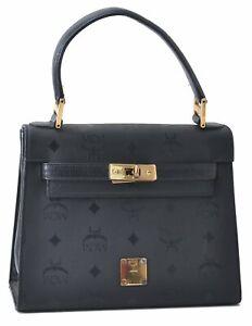 Authentic MCM Vintage PVC Leather Hand Bag Black D1251