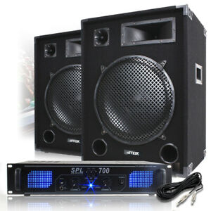 """2x Max 15"""" PA Speaker and Amp Party Disco DJ Band Complete Sound System 2000W"""