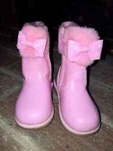 PAMPILI TODDLER GIRLS Pink CHURCH DRESS Faux FUR RHINESTONE BOW BOOTS SIZE 6 ❤
