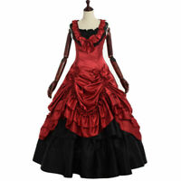 Women Victorian Sleevesless  Bowknot Dress Gothic Ball Gown Renaissance Costumes