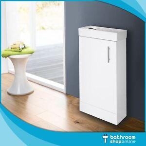 400mm Gloss White Floor Standing Bathroom Vanity Unit - Compact Cloakroom Basin