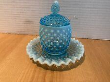 FENTON BLUE OPALESCENT Aqua HOBNAIL Marmalade jar with spoon and liner