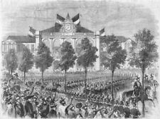 TURIN. French troops(Chasseurs de Vincennes)rail, antique print, 1859
