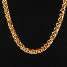 "Herren Halskette Zopfkette 6mm Echt 999er Gold 24 Karat vergoldet 24"""