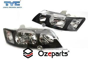 Pair LH+RH Head Light Lamp Black For Holden VY Commodore SS SV8 2002~2004