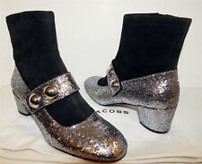 New Marc Jacobs Silver Glitter Black Suede Leather Ankle Boots 38.5 8 M Italy