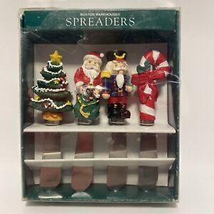 Vintage Christmas Spreaders Stainless Steel Blade Set Of 4 Boston Warehouse 1994