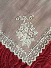 Early Antique C1840 Beautiful Hand White Work Wedding Handkerchief Monogrammed