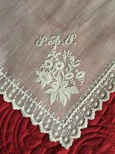 Early Antique C1840 Beautiful Hand White Work Wedding Handkerchief Monogrammed