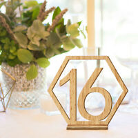 20PCS Hexagon 1-20 Wooden Table Numbers with Holder Base Wedding Table Decor