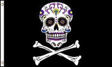 3x5 Pirate Sugar Skull Jr Flag 3'x5' Banner Brass Grommets Day of the Dead 100D
