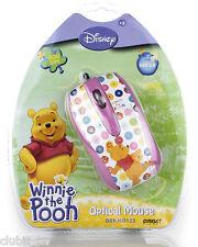 DISNEY Winnie The Pooh Rosa Computer USB OTTICO MOUSE Pc Dsy-mo122 Nuovo