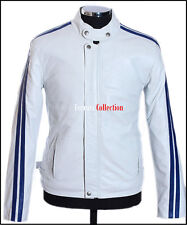 LETHAL WEAPON Mens Leather Jacket White Blue Stripes Real Lambskin Racer Jacket
