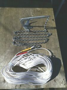 2KG BRUCE style  boat anchor Kit  2m 6mm chain 100ft 8mm rope
