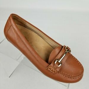 Vionic Kenya Womens Horsebit Loafers Brown Leather Flats Orthopedic Size 6.5