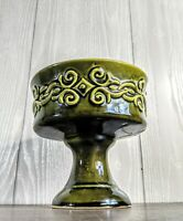 """Vintage Green Glaze Scroll Pattern Flora-Plant by UPCO Pottery Footed Planter 6"""""""