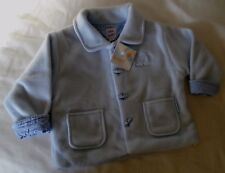 Baby boys pale blue fleece outdoor jacket with check lining age 0-6 mth BNWT