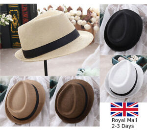 Unisex Men Women Summer Beach Sun Hat Jazz Panama Trilby Fedora Hat Gangster Cap
