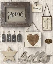 Vlies Tapete Antik Holz Home Hello Sterne love grau beige creme braun Paneel