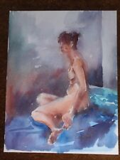 VINTAGE LINDA COCKS 1991 FEMALE NUDE WOMAN LADY WATERCOLOUR PAINTING ON PAPER