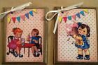 5 WOODEN 50s Retro Style BIRTHDAY Ornaments, Gift Tags, Hang Tags SET5-