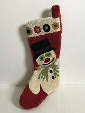 """Christmas Stocking Snowman W/Pipe Wool Hooked Front 20"""" L Very Nice Laura Megroz"""