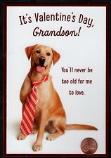 Valentine Puppy Dog Red Tie for Grandson - Valentine's Day Greeting Card New