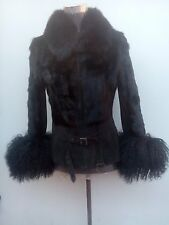Real Black Mongolian Tibetan Lamb Fur Cuffs Warm Fur Sleeves Cuff US stock
