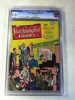 STAR SPANGLED COMICS #33 CGC 7.5 1944, NEWSBOY LEGION, LIBERTY BELLE, ROBOTMAN