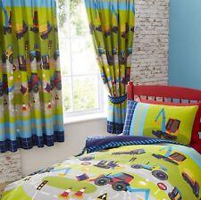 Blue & Green Kids Diggers / Tractors Single Duvet Cover Bedding Bed Set