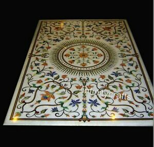24 x 48 Inches White Dining Table Top Gemstones Inlaid Marble Office table