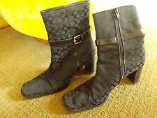 COACH Italy Bibi Black Signature Canvas Leather Trim Mid-Calf Boots Sz 7B