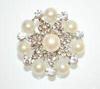 BROCHE mujer joya plata cristales perlas flores strass brooch novia брошь CC4