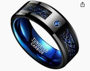 Men's Black Tungsten Carbide Wedding Ring with Blue CZ and Dragon Print - Size X