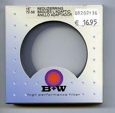 B + w Schneider Kreuznach/adaptador-ring para filtro 72 mm en objetivamente 58 mm/Nuevo