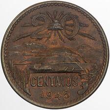 1945-Mo MEXICO 20 CENTAVOS STRIKING BU DEEP BOLD COLORING UNIQUE TONED UNC (MR)
