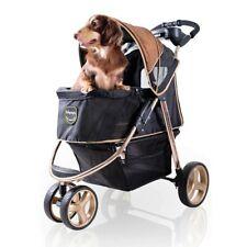 ibiyaya 3 Wheel Dog Stroller for Small and Medium Dogs Luxury Gold