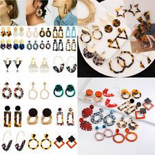 Geometric Women Acrylic Resin Tortoise Shell Hoop Statement Earrings Jewelry