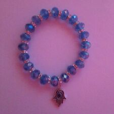 Hamsa Hand Blue Beaded Bracelet (Handmade)