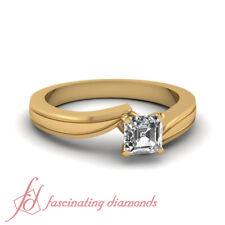 1/2 Carat Asscher Cut Diamond Swirl Solitaire Engagement Ring In 14K Yellow Gold