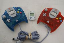 Two Sega Dreamcast Official Controllers Clear Red and Clear Blue  HKT-7700