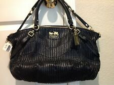 New Coach Black Madison Gathered Leather Sophia Handbag