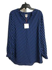 Anne Klein womens blouse shirt top blue black sz 0X XL NEW $89 #O37