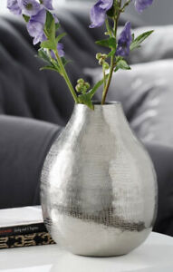 Next Small Silver Hammered Metal Vase Snake Effect