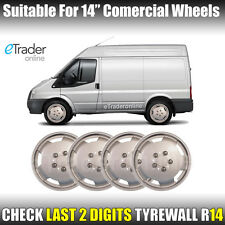 "Ford Bedford Talbot Van 14"" Wheel Trims Deep Dish Hub Caps Domed Trim x 4 New"